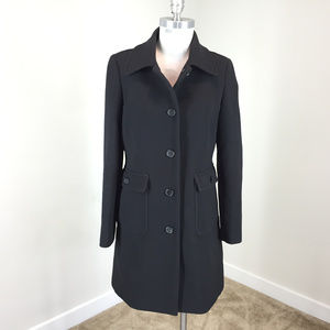 J Crew M 10 Black Double Cloth Wool Blend coat
